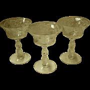 Set Of 3 Cambridge Chantilly Champagne / Tall Sherbert Glasses