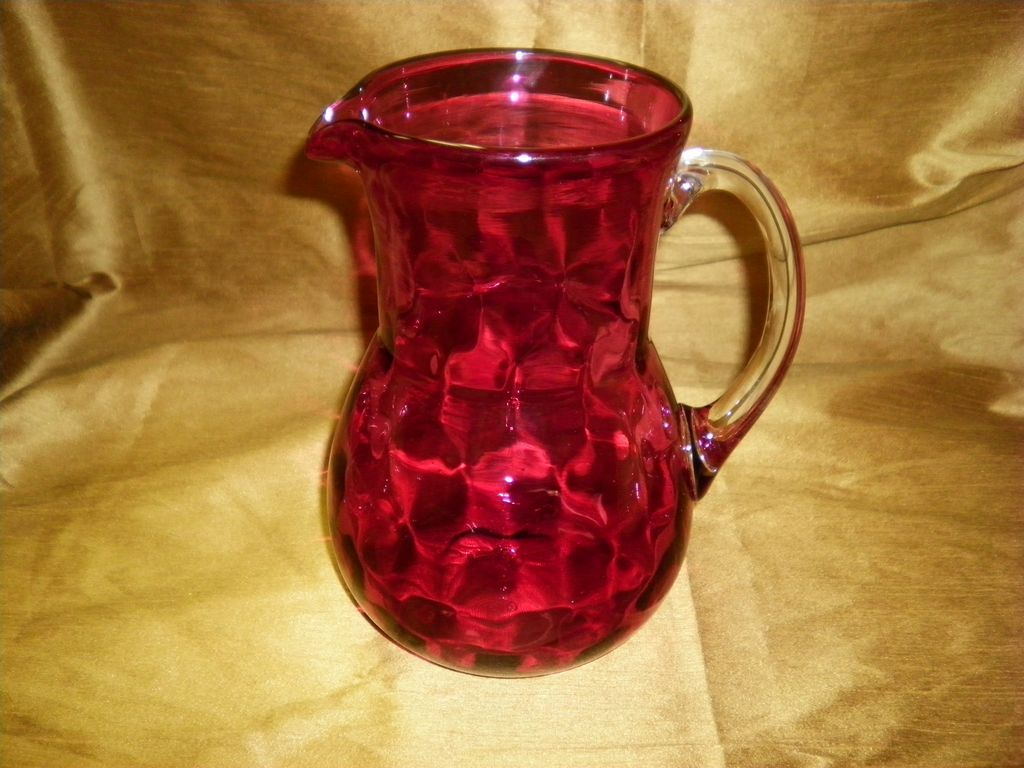 Cranberry Optic Coin Dot Pitcher