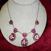 Vintage Amethyst Color Rhinestone 3 Drop Necklace