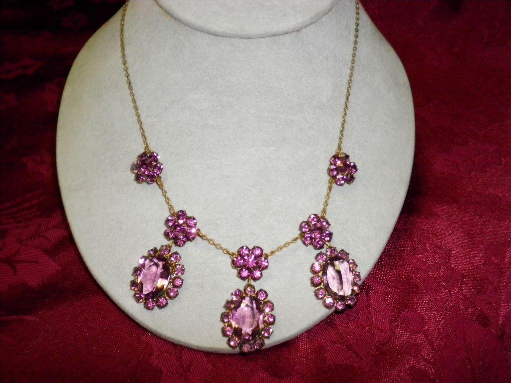 Vintage Amethyst Color Rhinestone 3 Drop Necklace