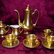 Pickard 22 Karat Gold Rose & Daisy 11 Piece Coffee Pot Set