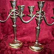Set of 2 Silver Platted  Candelabras / Candlesticks