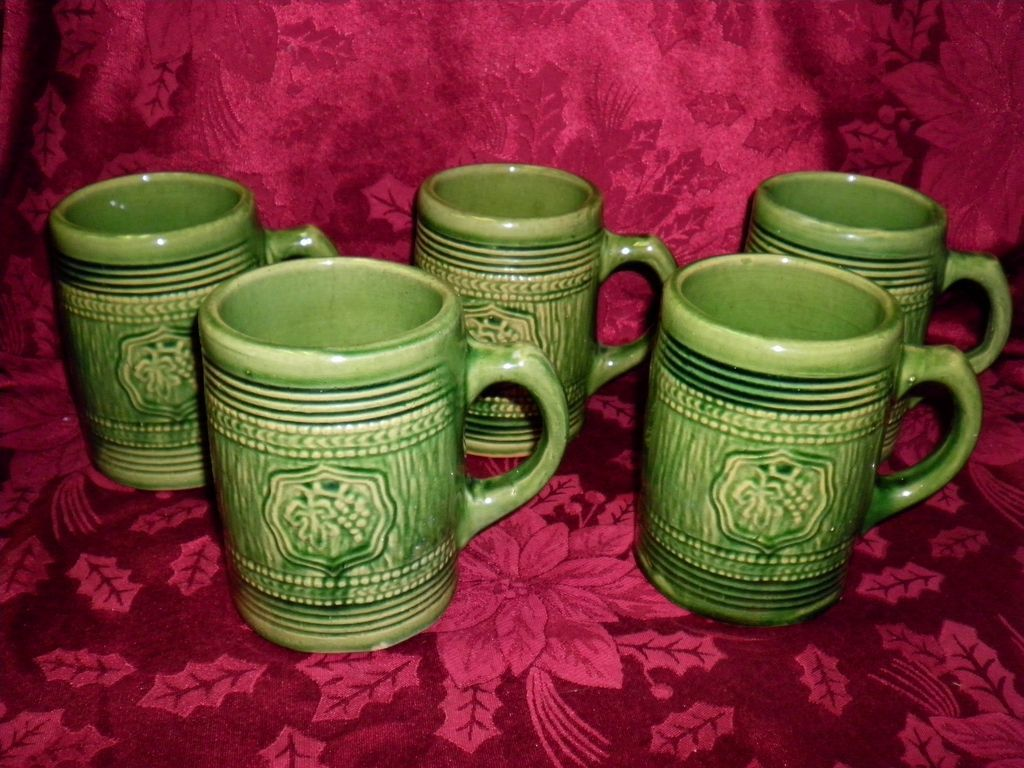Lot Of 5 Large Green McCoy Stoneware Mugs Circa 1926