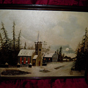Vintage Folk  Art Oil On Canvas  Painting