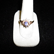 14 kt Yellow gold Tanzanite And Diamond Ring Size 9 With Appraisal