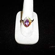14 kt. Yellow Gold Amethyst & Color Wheel Ring size 9 With Appraisal