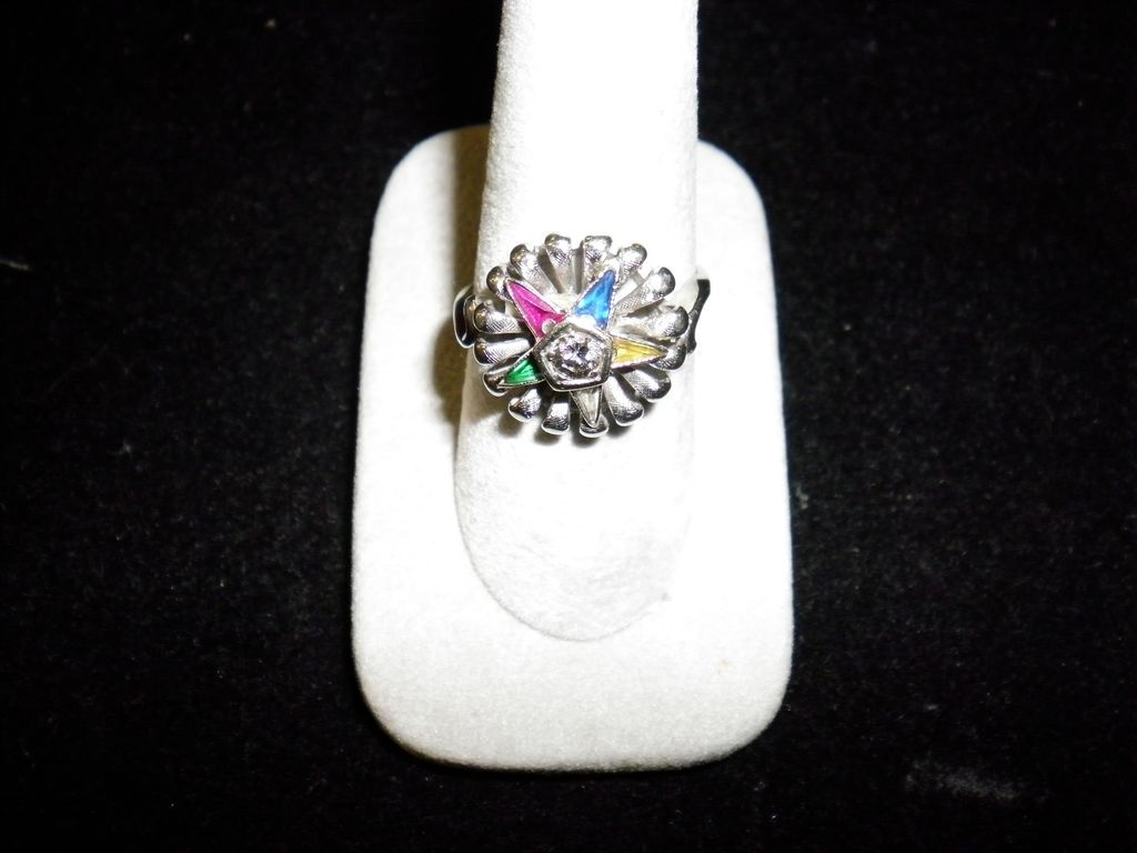 14 kt. White Gold & Diamond Eastern Star Ring Size 9.5 With Appraisal