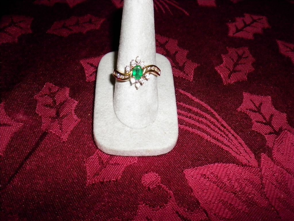 14 kt. Yellow Gold Emerald And Diamond Ring Size 9.5 With Appraisal