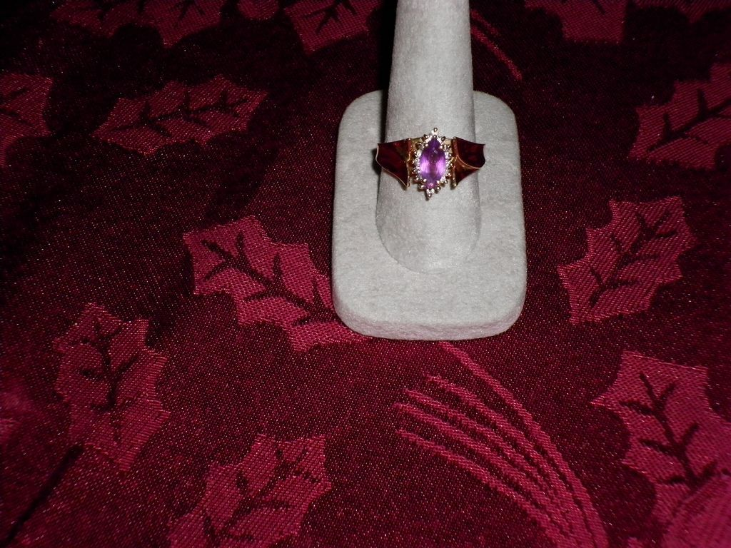 14 kt. Yellow gold Amethyst And Diamond Ring Size 10 With Appraisal