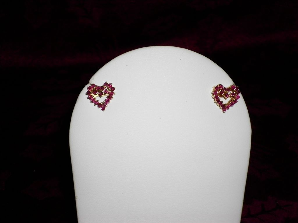 14 kt. Yellow Gold Ruby Heart Earrings With Appraisal