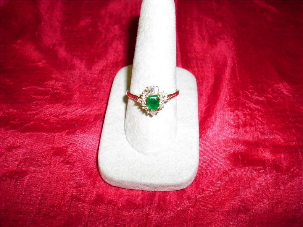14 kt. Yellow gold Emerald & Diamond Ring Size 9.5 With Appraisal