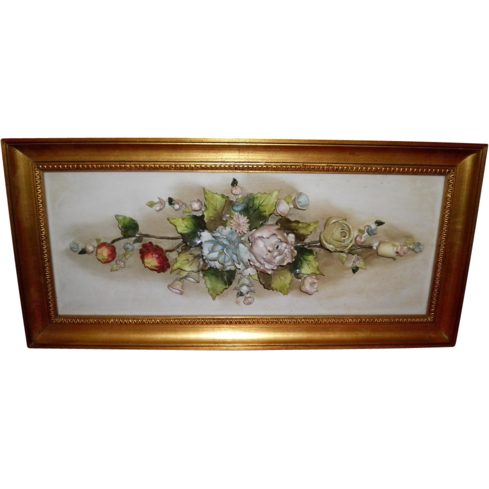 Vintage Porcelain Floral Capodimonte Picture Wall Hanging From Italy
