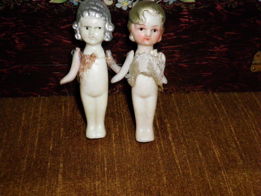 Set Of 2 Miniature Bisque Dolls