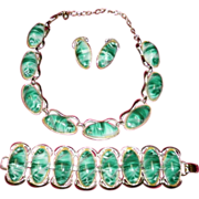 Vintage Green Lucite Necklace, Bracelet & Earrings Set
