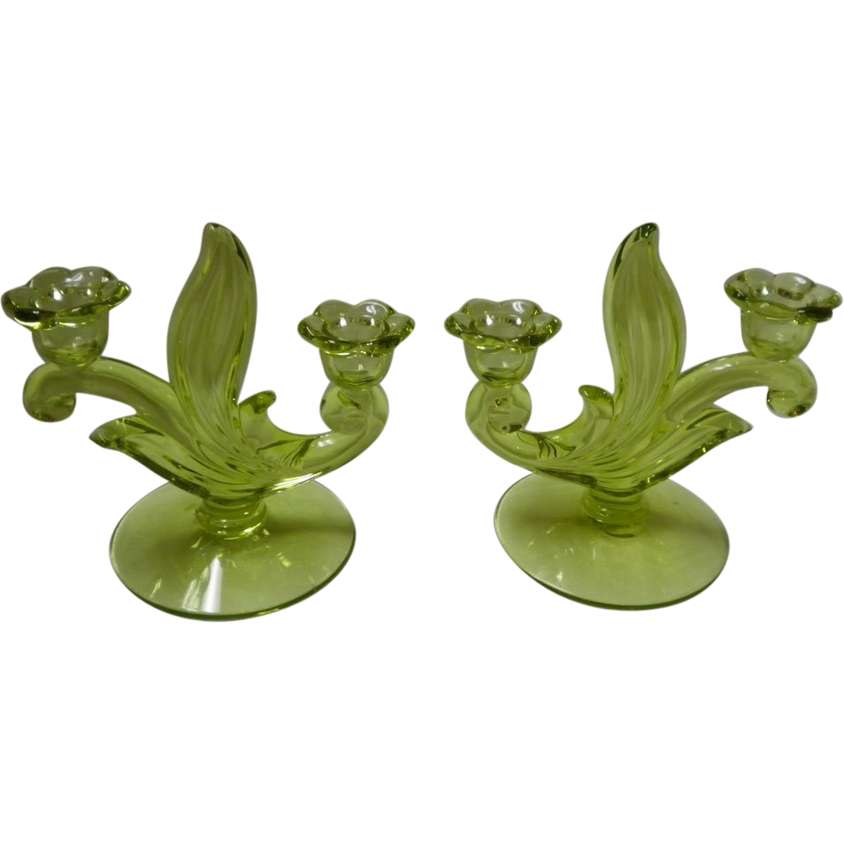 Pair Of 2 Light Green Fostoria Double Candlesticks
