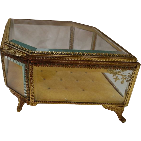 6 Panel Beveled Glass diamond Shaped Jewelry Casket