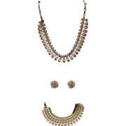 Vintage Lisner 3 Piece Rhinestone Set Necklace Bracelet & Earrings