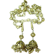Vintage Brass Lariat Necklace From India