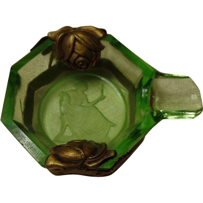 Green Depression Glass  Personal Ashtray