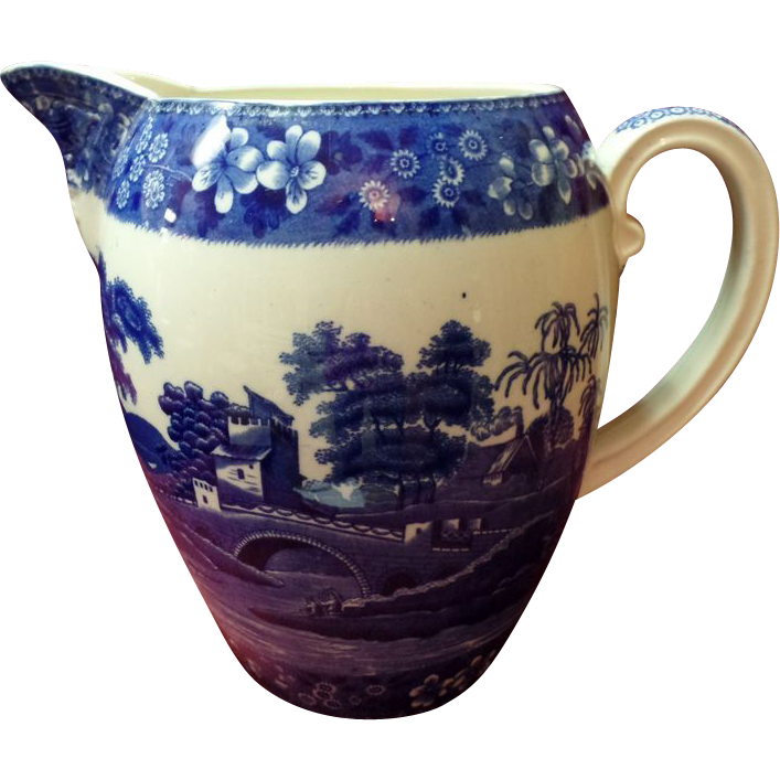 "Large 9 1/2"" Spode Blue Tower Pitcher"