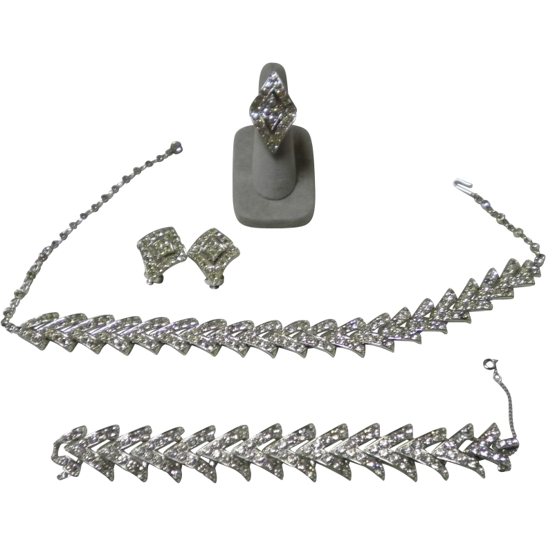 Sarah Coventry 4 Pc. Parisienne Nights Parure Rhinestone Necklace Set