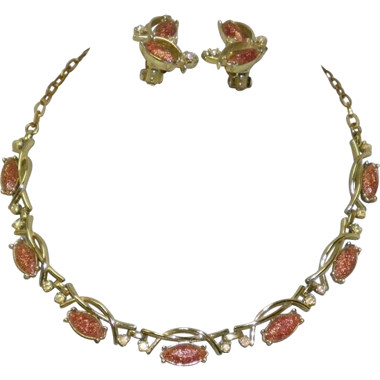 Vintage Emmons Necklace & Earrings Set