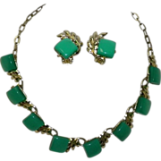 Vintage Green Lucite Necklace & Earrings Set