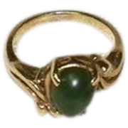Women's Vintage 14K Yellow Gold Jade Ring Size 5