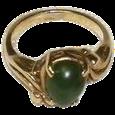 Women's Vintage 14K Yellow Gold Jade Ring Size 5