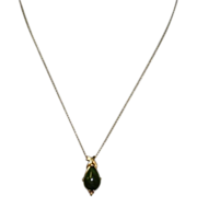 """Vintage Jade 14K Pendant And Chain """"Necklace"""""""