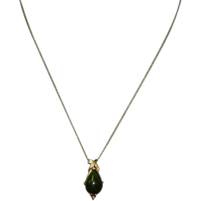"Vintage Jade 14K Pendant And Chain ""Necklace"""