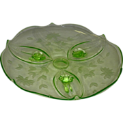Vintage Green Depression Fluorescent  Glass Footed Cake Plate
