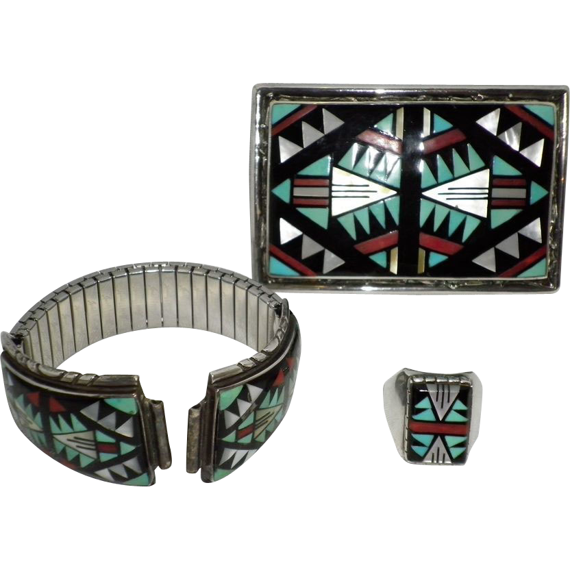 3 Piece Set Navajo Zuni Sterling Turquoise & Coral Belt Buckle Watch Band & Ring Signed D. V. Eriacho