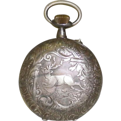 Antique Ornate Echappement Roskope Pocket Watch With Deer / Buck Motif
