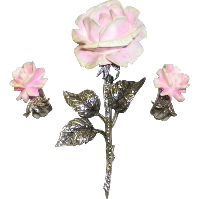 Vintage Sterling Silver Marcasite Pink Rose Carved Pin / Brooch & Earrings Germany