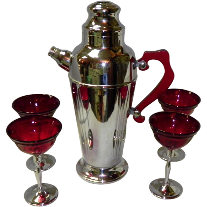 Art Deco Chrome Cocktail Shaker With Bakelite Handle & 4 Matching Glasses