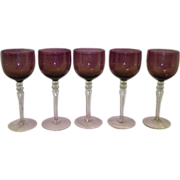 Set of 5 Cambridge Imperial Amethyst Wine Glasses / Goblets