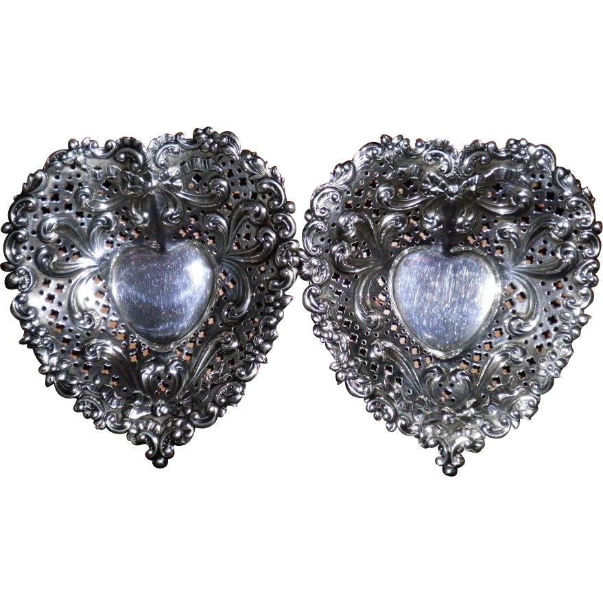 Set Of 2 Gorham Heart Shaped Sterling Silver Bonbon Dishes