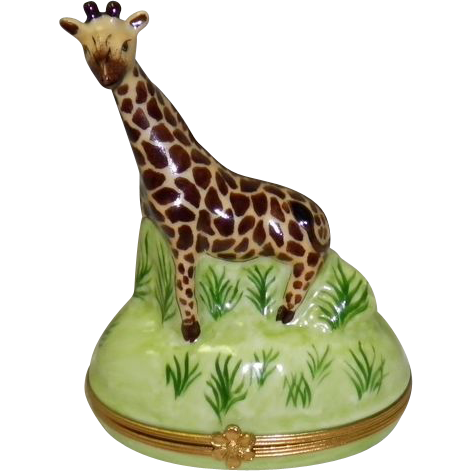 Porcelain Limoges Giraffe Trinket Box