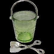Vintage Vaseline Glass Ice Bucket With Tongs