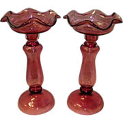 Set Of 2 Large Cranberry Glass Candlestick Holders