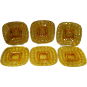 Set Of 6 Imperial Glass Square Beaded Block Amber Plates