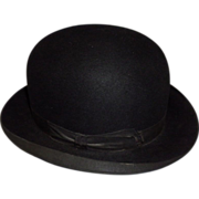 Vintage Stetson Black Felt Derby Bowler Hat