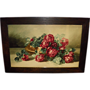 Beautiful Antique Framed Roses Watercolor