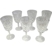 "Set Of 6 Singed Waterford Crystal Ashling Cut 6 6/8"" Goblets"