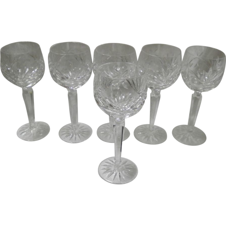 "Set Of 6 Singed Waterford Crystal Ashling Cut 7 1/2"" Wine Glasses"