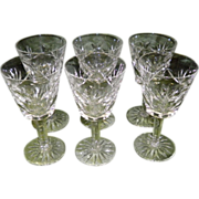 Set Of 6 Signed Waterford Crystal Ashling Cut Claret Wine Glasses