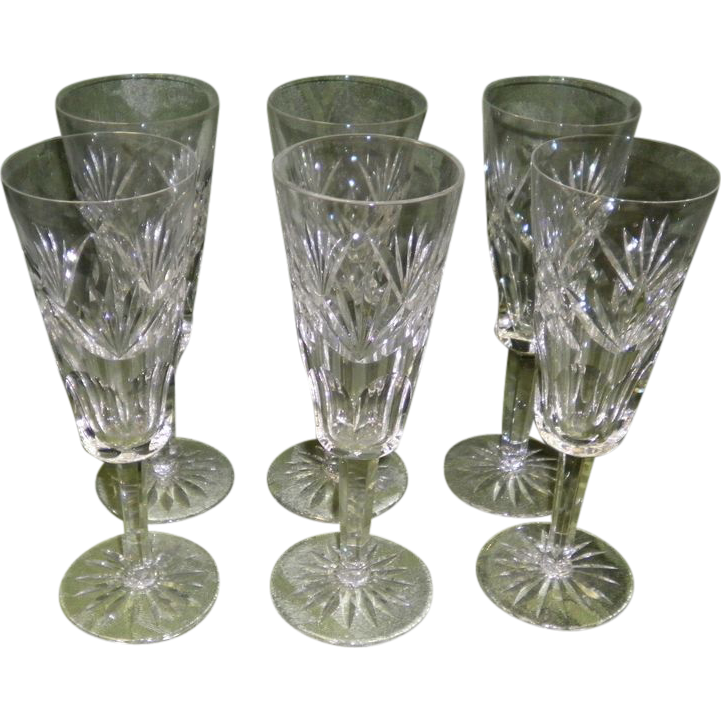 Set of 6 Signed Waterford Crystal Ashling Cut Fluted Champagne Glasses