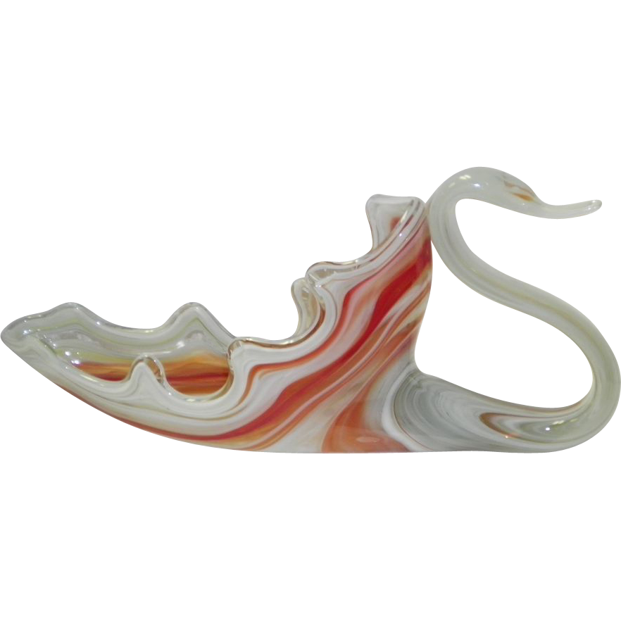 Red Swirl Art Deco Slag Glass Swan