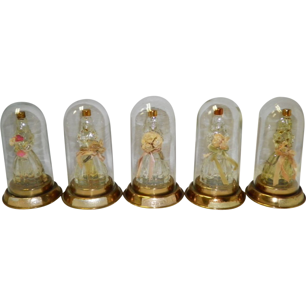 "Set Of 5 ""Yesteryear"" Gone With The Wind Figural Scarlett O'Hara Perfume Bottles"